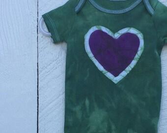 Baby Girl Gift, Baby Girl Bodysuit, Baby Shower Gift, Green Baby Girl Gift, Green Heart Bodysuit, Purple Heart Bodysuit (6-9 months)