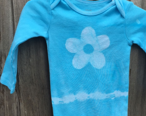 Blue Flower Baby Bodysuit, Blue Baby Bodysuit, Flower Baby Bodysuit, Light Blue Baby Gift, Baby Shower Gift, Baby Girl Gift (12 months)