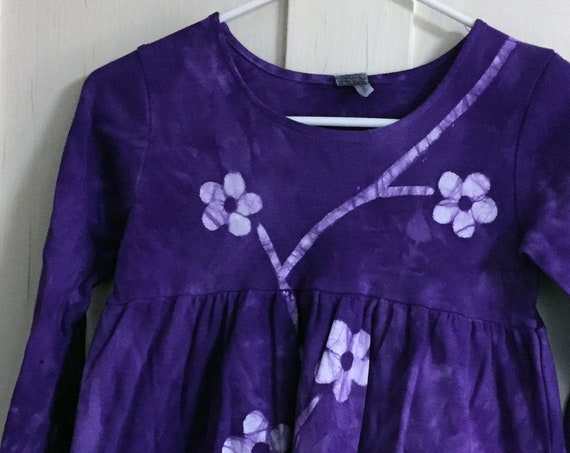 Flower Girls Dress, Purple Girls Dress, Purple Flower Dress, Batik Girls Dress, Long Sleeve Girls Dress, Girls Flower Dress (8)