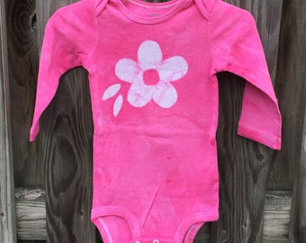 Pink Baby Gift, Baby's First Birthday Gift, Baby Girl Gift, Pink Flower Girl Bodysuit, Pink Baby Bodysuit, Pink Birthday Gift (12 months)