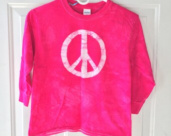 Kids Peace Sign Shirt, Hot Pink Peace Sign Shirt, Girls Peace Sign Shirt, Fuchsia Peace Sign Shirt, Girls Peace Shirt (Youth S)