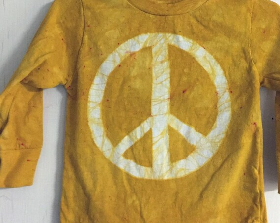 Kids Peace Sign Shirt, Boys Peace Sign Shirt, Girls Peace Sign Shirt, Yellow Peace Sign Shirt, Yellow Peace Shirt, Yellow Shirt (18 months)