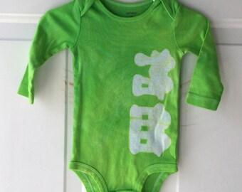 Train Baby Bodysuit, Green Train Bodysuit, Green Baby Bodysuit, Train Baby Gift, Baby Shower Gift, Baby Boy Gift, Green Baby Gift (9 months)