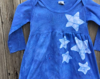 Girls Star Dress, Blue Girls Dress, Blue Star Dress, Celestial Girls Dress, Batik Girls Dress, Long Sleeve Dress , Star Girls Dress (4T)