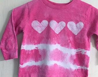 Valentines Day Shirt, Kids Valentine Shirt, Girls Tie Dye Shirt, Tie Dye Girls Shirt, Pink Heart Shirt, Batik Shirt, Pink Tie Dye Shirt (3T)