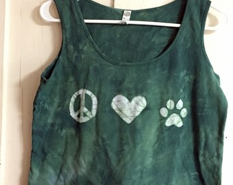 Dog Lovers Tank Top, Cat Lovers Tank Top, Peace and Love Tank Top, Animal Lovers Tank Top, Green Ladies Tank Top, Women's Tank (L)