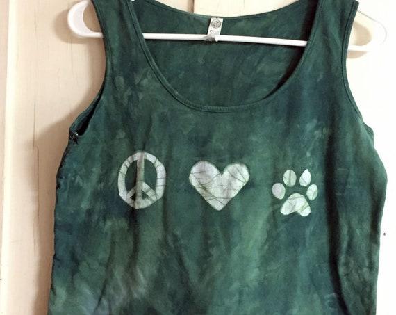 Dog Lovers Tank Top, Cat Lovers Tank Top, Peace and Love Tank Top, Animal Lovers Tank Top, Green Ladies Tank Top, Women's Tank (L)