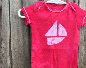 Sailboat Baby Gift, Red Sailboat Bodysuit, Neutral Baby Gift, Boat Baby Bodysuit, Red Baby Gift, Nautical Baby Gift (6 months)