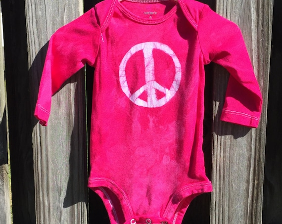 Peace Sign Baby Gift, Girl Baby Gift, Pink Baby Gift, Pink Peace Baby Gift, Peace Baby Bodysuit, Baby Shower Gift, Baby Girl Gift (6 months)