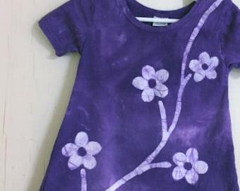Purple Girls Dress, Girls Flower Dress, Flower Girls Dress, Toddler Girls Dress, Purple Flower Dress, Batik Dress, Girls Purple Dress (2T)