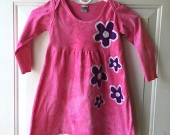 Flower Girls Dress, Pink Girls Dress, Batik Girls Dress, Girls Flower Dress, Pink Flower Dress, Purple Flower Dress, Long Sleeve Dress (4T)