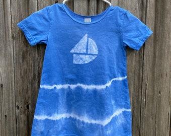Sailboat Dress, Boat Dress, Girls Boat Dress, Girls Sailboat Dress, Girls Nautical Dress, Blue Sailboat Dress, Blue Boat Dress, Tie Dye (6)