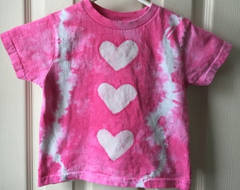 Girls Tie Dye Shirt, Kids Tie Dye Shirt, Pink Tie Dye Shirt, Pink Girls Shirt, Pink Heart Shirt, Batik Girls Shirt, Batik Heart Shirt (3T)