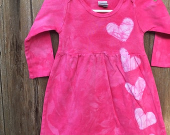 Pink Girls Dress, Girls First Birthday Gift, Pink Heart Dress, Valentine's Day Dress, Pink Baby Dress, Long Sleeve Girls Dress (12 months)