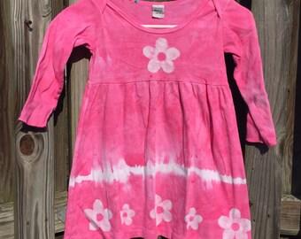 Pink Girls Dress, Flower Girls Dress, Tie Dye Girls Dress, Batik Girls Dress, Girls Flower Dress, Girls Pink Dress, Long Sleeve Dress (4T)