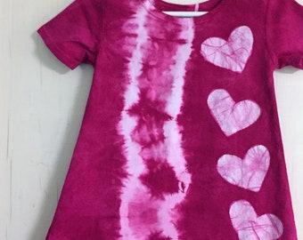 Pink Girls Dress, Tie Dye Girls Dress, Batik Hearts Girls Dress, Hot Pink Girls Dress, Girls Tie Dye Dress, Girls Pink Dress (2T)
