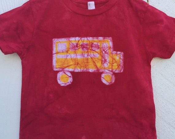 Kids School Bus Shirt, Boys School Bus Shirt, Girls School Bus Shirt, Red School Bus Shirt, Back to School Shirt (4/5)