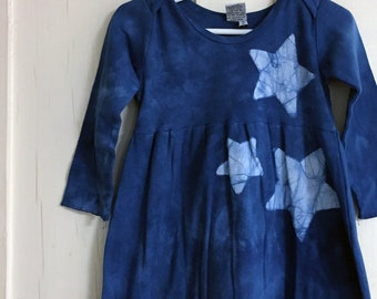 Girls Star Dress, Blue Girls Dress, Blue Star Dress, Celestial Girls Dress, Batik Girls Dress, Long Sleeve Dress , Toddler Girls Dress (2T)