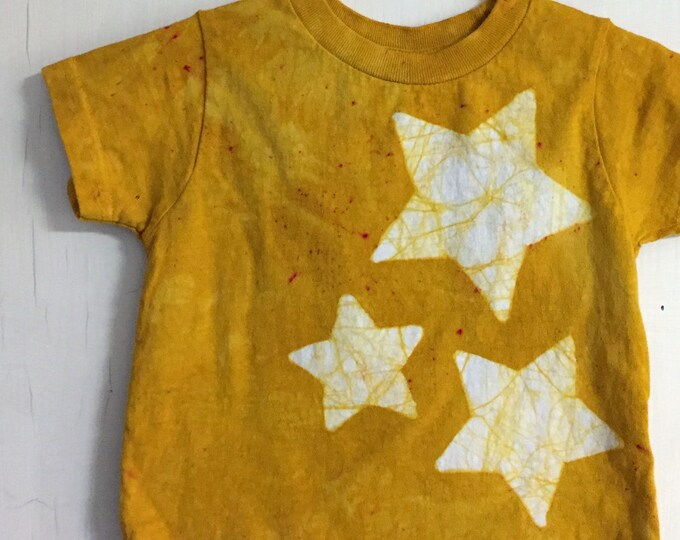 Featured listing image: Toddler Star Shirt, Kids Star Shirt, Boys Star Shirt, Girls Star Shirt, Kids Celestial Shirt, Yellow Star Shirt, Batik Shirt (18 months)