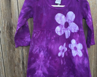 Purple Girls Dress, Flower Girls Dress, Purple Flower Dress, Girls Batik Dress, First Birthday Gift, Girls Birthday Gift (18 months)