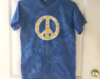 Peace Sign Shirt, Adult Peace Sign Shirt, Mens Peace Shirt, Womens Peace Shirt, Blue Peace Sign Shirt, Yellow Peace Sign Shirt (S)