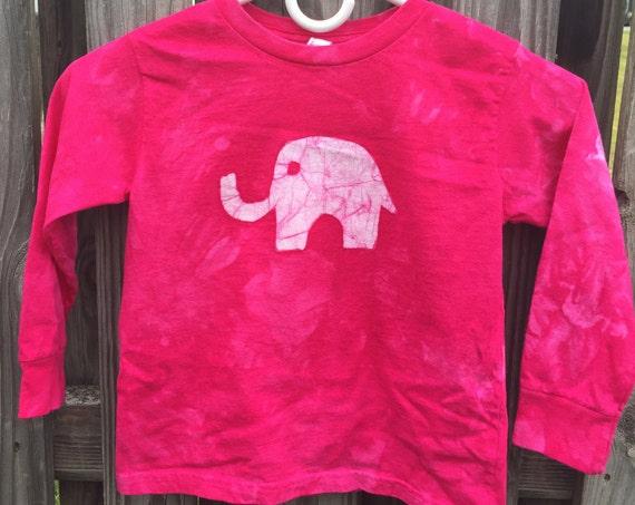 Pink Elephant Shirt, Kids Elephant Shirt, Girls Elephant Shirt, Fuchsia Elephant Shirt, Batik Kids Shirt, Long Sleeve Kids Shirt (4T)