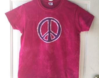 Peace Sign Shirt, Pink Peace Shirt, Purple Peace Shirt, Womens Peace Sign Shirt, Ladies Peace Sign Shirt, Batik Peace Sign Shirt (Ladies M)