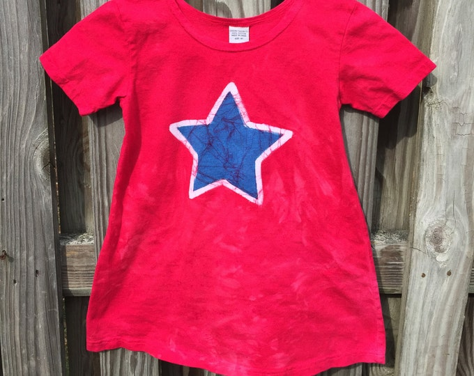 Featured listing image: Patriotic Girls Dress, Girls Patriotic Dress, Red Star Dress, Red White and Blue Dress, Girls Fourth of July Dress, July 4th Dress (4T)