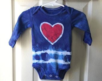 Patriotic Baby Bodysuit, Baby July 4th Shirt, Baby Fourth of July, Heart Baby Bodysuit, Tie Dye Baby Shirt (6 months)
