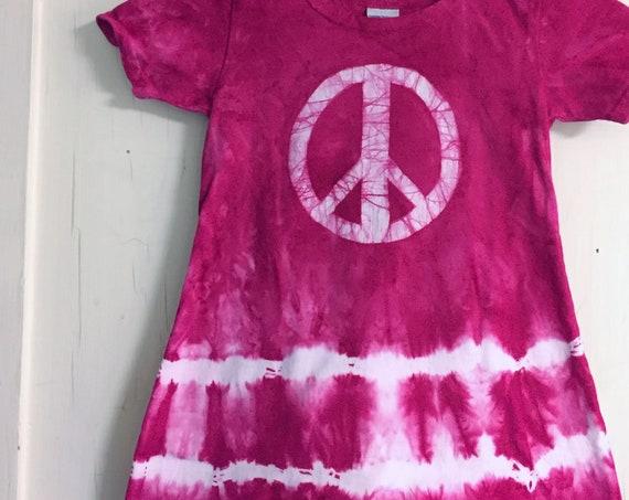 Girls Peace Sign Dress, Pink Peace Sign Dress, Batik Peace Sign Dress, Pink Girls Dress, Girls Tie Dye Dress, Girls Pink Dress (4T)