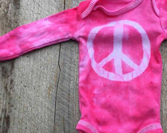 Preemie Baby Bodysuit, Peace Sign Baby Gift, Peace Sign Baby Bodysuit, Pink Peace Bodysuit, Premature Baby Gift, Pink Baby Gift (Preemie)