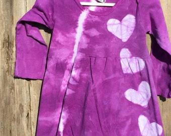 Valentine's Day Dress, Girls Valentine's Day Dress, Purple Girls Dress, Purple Heart Dress, Tie Dye Girls Dress, Girls Purple Dress (2T)