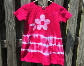 Back to School Dress, Girls Tie Dye Dress, Pink Tie Dye Dress, Pink Girls Dress, Girls Flower Dress, Flower Girl Dress (6)
