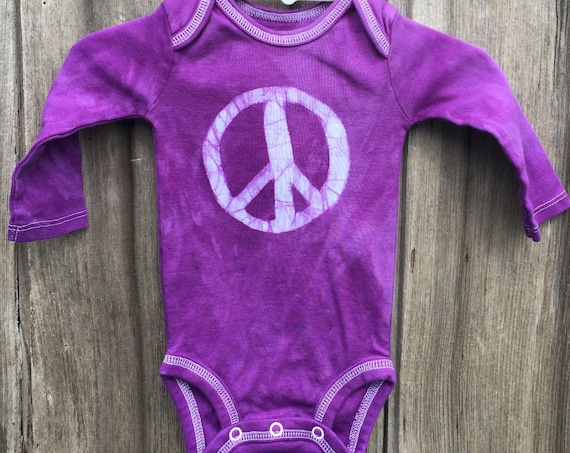 Peace Sign Baby Bodysuit, Purple Peace Sign, Baby Boy Peace Sign, Baby Girl Peace Sign, Gender Neutral Baby Gift, Peace Baby (0-3 months)