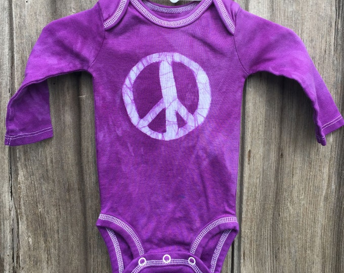 Featured listing image: Peace Sign Baby Bodysuit, Purple Peace Sign, Baby Boy Peace Sign, Baby Girl Peace Sign, Gender Neutral Baby Gift, Peace Baby (0-3 months)