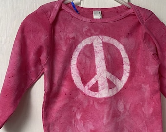 Baby Peace Sign Shirt, Peace Sign Shirt for Baby, Peace Sign Baby Gift, Pink Baby Gift, Baby Girl Gift, Pink Peace Shirt, Baby Shower (18m)