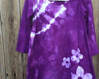 Flower Girls Dress, Tie Dye Girls Dress, Purple Girls Dress, Batik Girls Dress, Girls Flower Dress, Girls Purple Dress, Long Sleeves (4T)