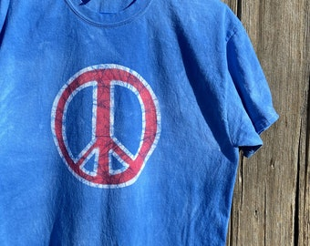 Patriotic Peace Sign Shirt, Adult Peace Sign Shirt, Red Peace Sign, Blue Peace Sign, Patriotic Womens Shirt, Fourth of July Shirt
