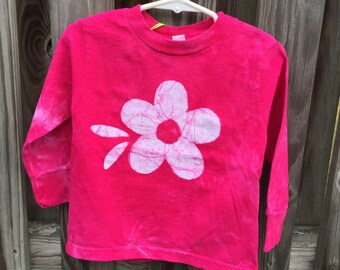 Toddler Girls Shirt, Pink Girls Shirt, Flower Girls Shirt, Hot Pink Girls Shirt, Pink Flower Shirt, Toddler Girls Birthday Gift (2T)