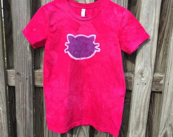 Pink Cat Shirt, Purple Cat Shirt, Ladies Cat Shirt, Womens Cat Shirt, Hot Pink Cat Shirt, Batik Cat Shirt, American Made Shirt (L)