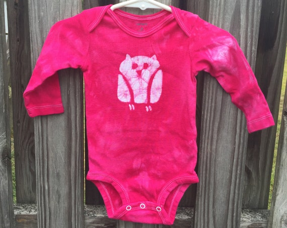 Pink Owl Baby Gift, Owl Baby Bodysuit, Fuchsia Owl Bodysuit, Pink Owl Bodysuit, Baby Girl Gift, Owl Baby Gift, Baby Shower Gift (6 months)