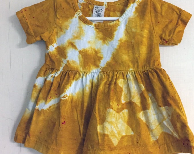Featured listing image: Yellow Baby Dress, Star Baby Dress, Celestial Baby Dress, Yellow Star Dress, Baby Shower Gift, Tie Dye Dress, Baby Girl Gift (12 months)