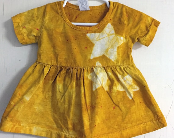 Yellow Baby Dress, Star Baby Dress, Celestial Baby Dress, Yellow Star Dress, Baby Shower Gift, Yellow Baby Girl Outfit (12 months)