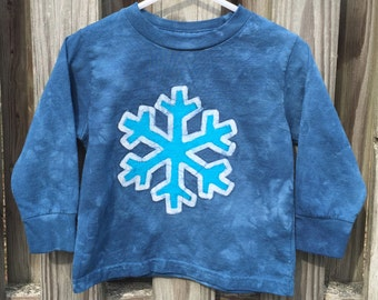 Snowflake Shirt, Kids Snowflake Shirt, Ice Blue Snowflake Shirt, Girls Snowflake Shirt, Boys Snowflake Shirt, Long Sleeve Shirt (2T)