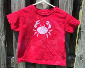 Kids Crab Shirt, Red Crab Shirt, Boys Crab Shirt, Girls Crab Shirt, Maryland Crab Shirt, Ocean Creature Shirt, Batik Crab Shirt (3T)
