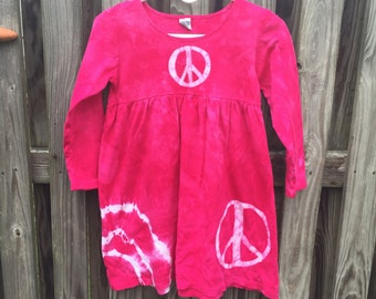 Peace Sign Dress, Girls Peace Sign Dress, Pink Peace Sign Dress, Pink Peace Dress, Pink Girls Dress, Long Sleeve Girls Dress (8)