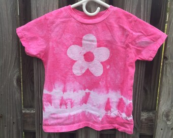 Girls Tie Dye Shirt, Pink Tie Dye Shirt, Kids Tie Dye Shirt, Pink Girls Shirt, Flower Girls Shirt, Girls Flower Shirt, Pink Flower (4T)