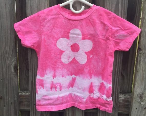 Girls Tie Dye Shirt, Pink Tie Dye Shirt, Kids Tie Dye Shirt, Pink Girls Shirt, Flower Girls Shirt, Girls Flower Shirt, Pink Flower (4T)