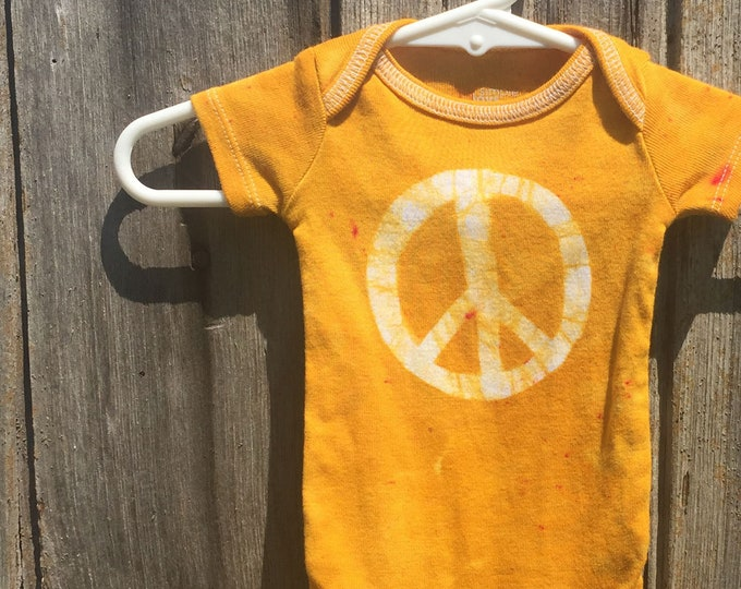 Featured listing image: Peace Sign Baby Gift, Peace Sign Baby Bodysuit, Yellow Peace Bodysuit, Baby Shower Gift, Neutral Baby Gift, Preemie Baby Bodysuit (Newborn)