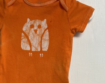 Owl Baby Bodysuit, Owl Baby Gift, Baby Owl Gift, Gender Neutral Baby Gift, Orange Baby Gift, Orange Owl Baby Bodysuit (3-6 months)